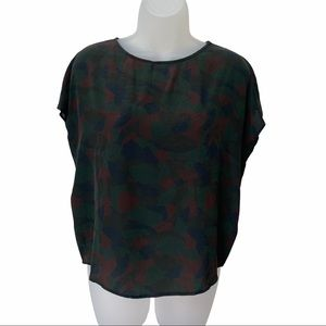 Billy Reid Camouflage Inspired Silk Top Size XS
